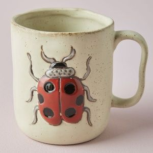 Set 2 Anthropologie Quality Stoneware Lady Bug Mug